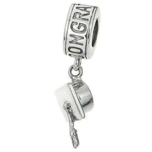 925 Sterling Silber Herzlichen Glückwunsch Abschluss Kappe College Universität Schule Dangle Bead für europäische Charm-Armbänder