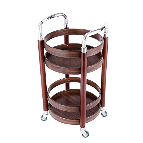 MHBGX Multifunction Portable Hand Trucks,Trolleyserving Trolley Drinks Kitchen Can Move Solid Wood Rubber Wheel 2 Layer with Guardrail, Load 20 Kg, 2 Styles, 2 Sizes,B-42 X 42 X 74 cm