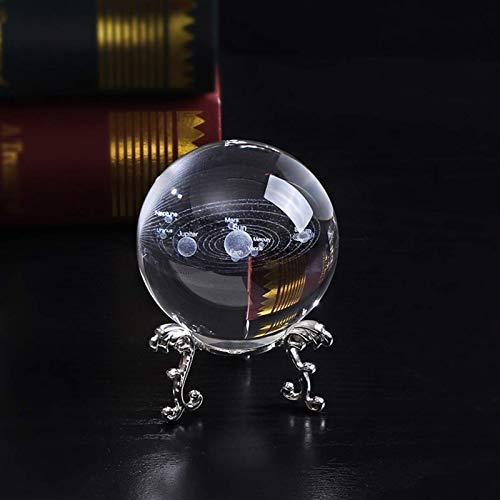 RIMEI Wohndekorationen. 6cm 3D Planeten Kugel Kristall Sonnensystem Globe Miniatur Glas Modell Ball Feng Shui Wohnkultur Zubehör Ornament Kid Geschenk (Color : with Silver Base)
