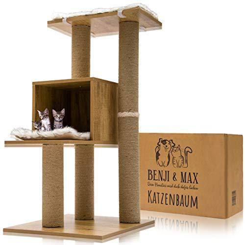 Benji & Max Premium Kratzbaum mit 5 Jahren Garantie, Katzenkratzbaum, Kletterbaum, Katzenbaum (braun)