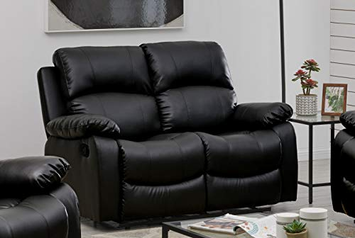 Bravich LUXURY Black Bonded Leather Recliner 2 Seater Reclining Sofa Suite Settee Couch Lounge Home Lounge Armrest Footrest (148x93x97cm)