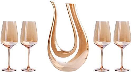Tcbz Decantador de aireador de Vino, Juego de Copas de Vino Dorado Que Incluye un decantador de 1.5L y 4 Copas de Vino, Juego de oxigenación de Vino de Cristal 100% sin Plomo (Color: Dorado)
