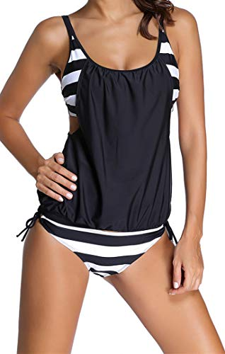 Ocean Plus Mujer Tankini de Malla Acolchada y Colorida con Calzoncillos Bikini Conjunto de Rayas Traje de Baño de Dos Piezas Ropa de Playa (XXL (EU 42-44), Rayas Negras)