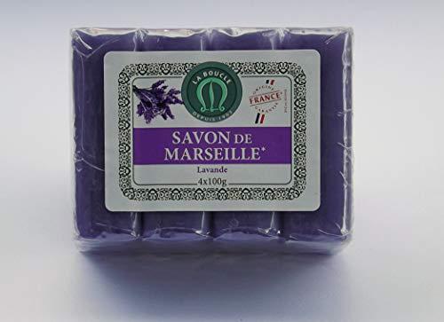 Savon de Marseille La Boucle - 4 x 100 g de savon à la lavande - 4 x 400 g