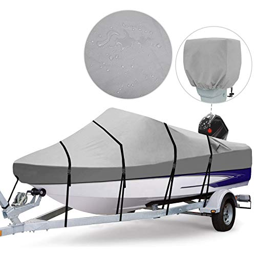 RVMasking Waterproof 800D Polyester Trailerable Full Size Boat Cover for V-Hull Runabouts Outboards and I/O Bass Boats, Motor Cover Inclue