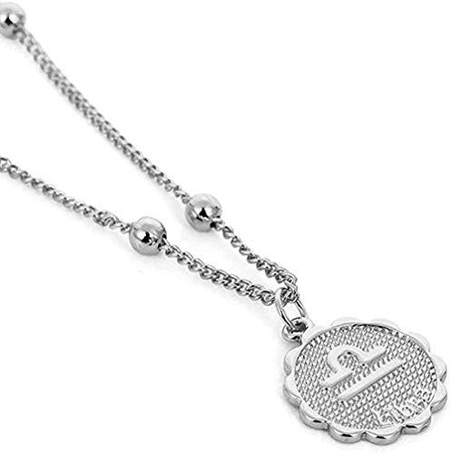 ZJJLWL Co.,ltd Collar de 12 Constelaciones Collar con Colgante en Relieve Collar de Cadena con Signo del Zodiaco de Cobre horóscopo joyería para Mujer Regalo