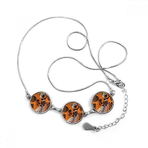 Negro Mujeres tótems africana sexy aborígenes forma redonda colgante collar joyas con cadena decoración regalo