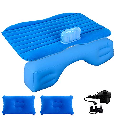 hikotor Inflatable Car Air Mattress for SUV Travel Back Seat - 2 Air Pillows, 2 Air Piers,1 Travel Neck Pillow, Mattress and Piers can be Separated, Mattress can be Used Like a Normal Camping Mattress
