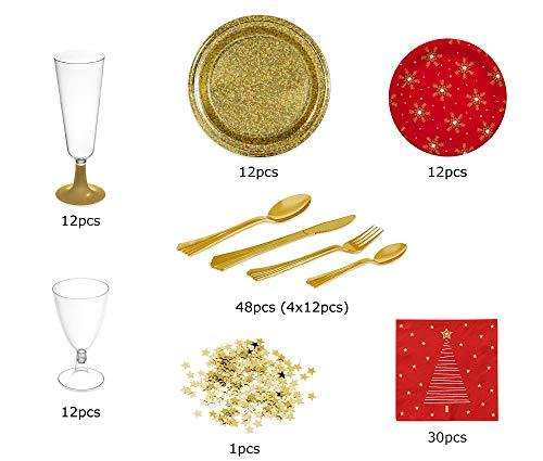 [Pack ahorro] Kit de vajilla desechable elegante con decoración ideal para fiestas - Color rojo y oro dorado -...