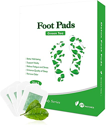 Foot Pads 100% Natural Organic Green Tea 2in1 Foot Patches, Improve Sleep Quality Foot pacthes Relieving Fatigue Foot Care 10 Pads = 5 Day Supply