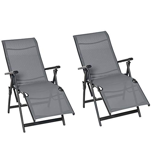 Outsunny Set of 2 Outdoor Sun Lounger Adjustable Folding Steel Textiline Chaise Reclining Lounge Chairs with 10 Back and Leg Positions,Grey