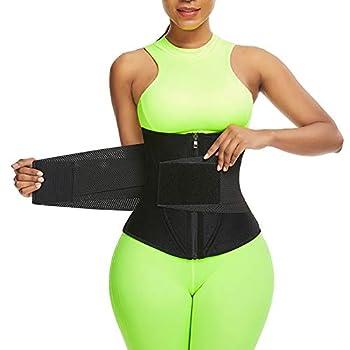 Wonder-Beauty Workout Waist Trimmer Belt for Men and Women Plus Size Waist Cincher Trainer Sweat Wrap Exercise Belt for Stomach Black XL