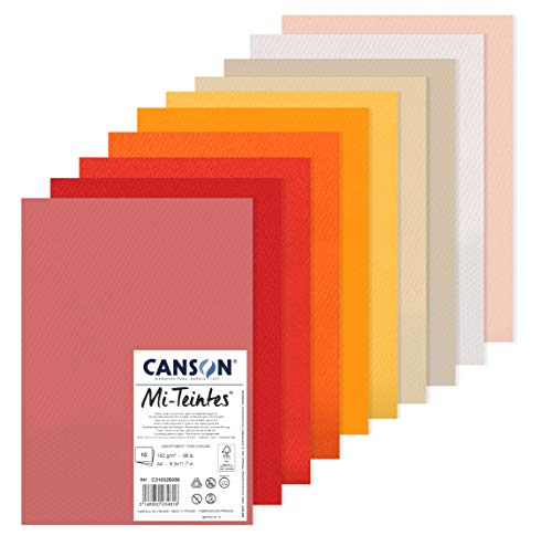 Canson Mi-Teintes 60% Abeja 160g Pack A4 10H Tonos Cálidos