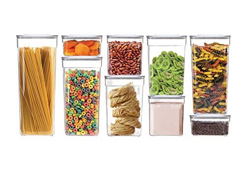 Ydoro | Juego de recipientes cuadrados de 9 piezas para harina, azúcar, cereales, transparentes, con tapa | Botes herméticos de plástico de alta calidad para la cocina, libres de BPA, apilables