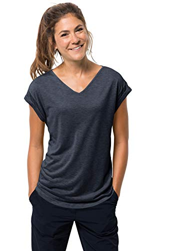 Jack Wolfskin Damen Coral Coast T W Luftiges T-Shirt, Midnight Blue, XL