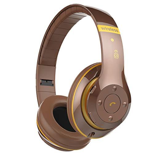 B Blesiya Einstellbare Geräuschunterdrückung Bluetooth Funkkopfhörer über Dem Ohrstirnband - Braun