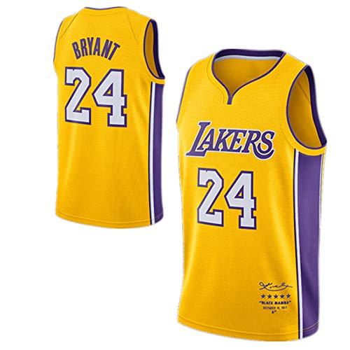 WJP Camiseta De Baloncesto Kobe Bryant Versión Retirada - Los Angeles Lakers # 24 Uniforme De Baloncesto Versión para Fanáticos, Chaleco Swingman Bordado para Hombres Retired Version-M