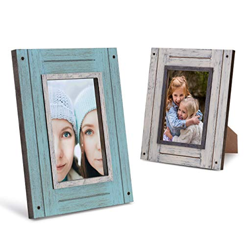 Rustic 4x6 Picture Frames 4x6 Frame Set of 2, White & Teal, Farmhouse Picture Frames for Wall with Real Glass, Rustic Home Decor Picture Frame