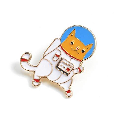 Weltraumastronomie kosmische Katze Hund Etikettenstifte Kawaii Abzeichen Metall Broschen Jeans Jacken Emaille Pin niedlichen Cartoon Tierschmuck Geschenk