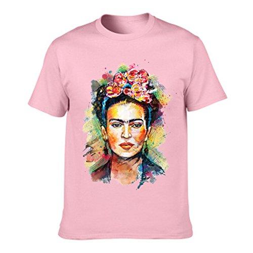 Jahurto Camiseta para Mujer de Manga Corta Artista Mexicana Frida Kahlo Personalizada (Color : Pink, tamaño : XL)