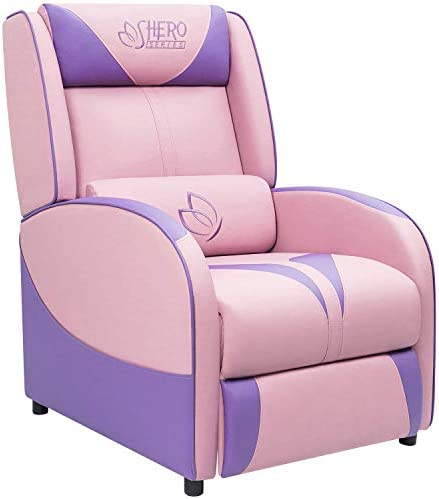 Best Homall Single Living Room Sofa Girl Purple Leather Home Theater Seating Pink Gaming Recliner