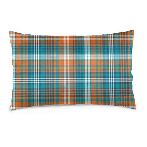 Lesif Fundas de cojín de terciopelo rectangulares fundas de almohada suaves decorativas para sofá, dormitorio, coche, 40,6 x 60,9 cm (azul y naranja a cuadros verticales)