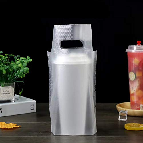 Bolsas de plástico para bebidas de plástico transparente para envío, soporte para vasos, bar, restaurante, cafetería, tienda, accesorios (100 unidades, 16,3 x 10,2 cm)