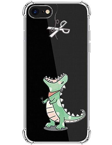kinnter Kompatibel mit iPhone SE (2020) Hülle Silikon Transparent Handyhülle Ultra Dünn TPU Bumper Stoßfest Schutzhülle Original Design für iPhone SE (2020) Tasche Cover