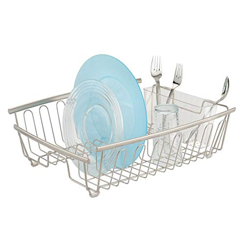mDesign Large Kitchen Countertop, Sink Dish Drying Rack with...