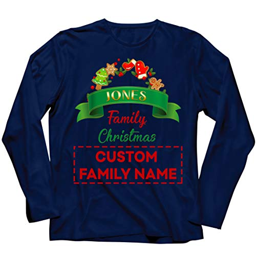 lepni.me Camiseta de Manga Larga para Hombre Personalizado Familia Trajes de Fiesta de Navidad del 2020 a Quego (Medium Azul Multicolor)
