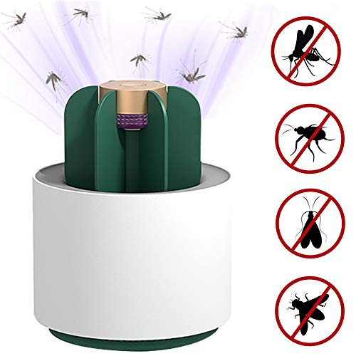HWJF Indoor USB muggenmoordenaar, plug-in 360° UV UV lamp muggenwerend ongediertebestrijder licht, ingebouwde ventilator insect val, slaapkamer keuken toilet (cactus)