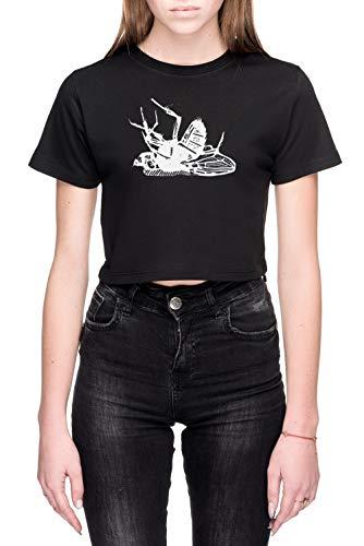 Dood Vlieg Linocut Dames Crop T-Shirt Zwart Women's Crop T-Shirt Black