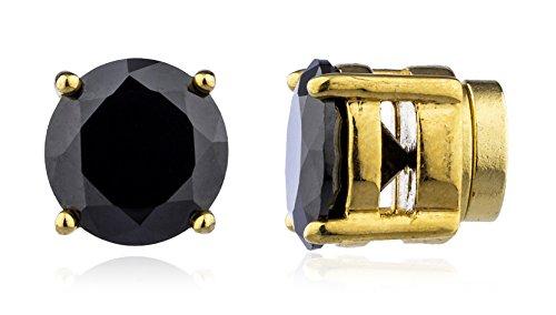 Dorado con Negro CZ redonda magnética Stud Pendientes–4mm a 12mm disponibles (8a-ckwp-9wr2)