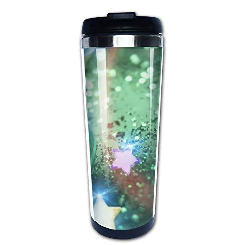 Reisekaffeetasse Grünes Herz Sterne Glitzer Edelstahl Isolierte Kaffeetasse Sport Wasserflasche 13,5 Unzen