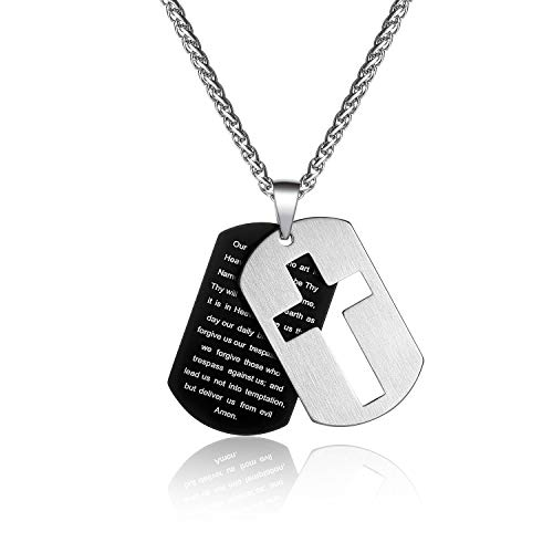 P. Blake Stainless Steel Cross Necklaces for Men Boy, Include 2 Dog Tag Lord's Prayer Pendant Necklace with Chain