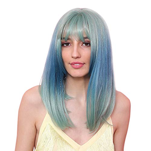 Koehope pruik Cool Girl pruik mint groen gradient blauw sjaal lang haar rollenspel Stage Party Cosplay pruik