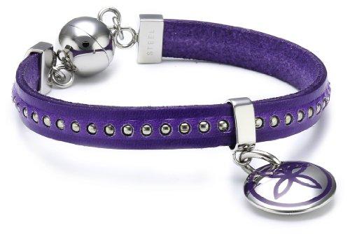 Esprit Damen Armband Edelstahl Leder 19 cm violett ESBR11435C190