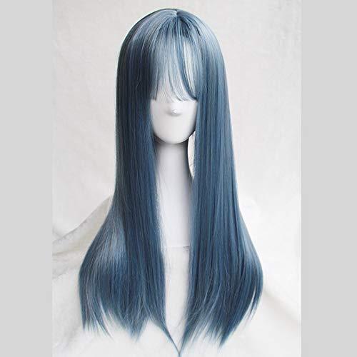 XIAOXX Perruque Femme Net Rouge Cheveux Longs raides naturellement forcé Frange sous Vide Bleu Gris Plein Couvre-Chef Visage Rond Frange Qi