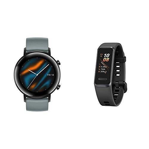HUAWEI Watch GT 2 Sport (42 mm), [Exklusiv +5EUR Amazon Gutschein], Lake Cyan + Band 4 wasserdichter Bluetooth Fitness- Aktivitätstracker mit Herzfrequenzmesser, Sport Band und Touchscreen