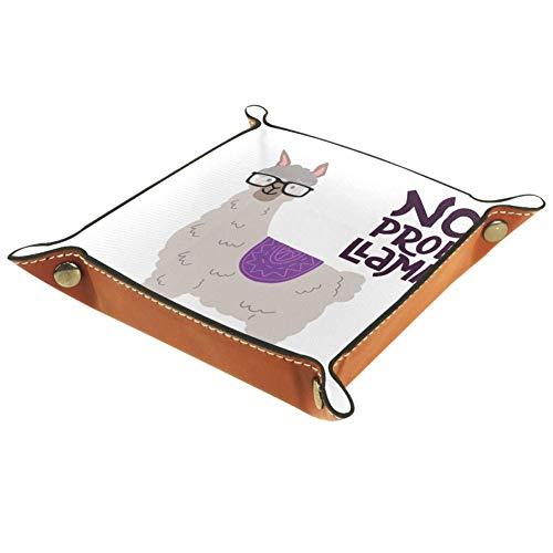 TIZORAX Lama mit Brille Schriftzug Zitat Leder Aufbewahrungsbox Valet Tray Schmuck Organizer für Münzen Schlüssel