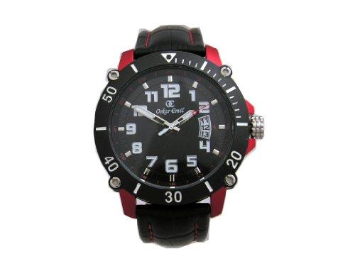 Oskar Emil manil – Reloj para Hombres, Correa de Cuero Color Negro