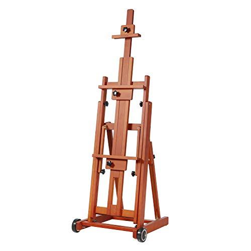 "MEEDEN Artist Multi-Function Studio Easel, H-Frame Easel, Beech Wood Studio Easel, Holds Canvas Art up to 77""(Walnut Color)"