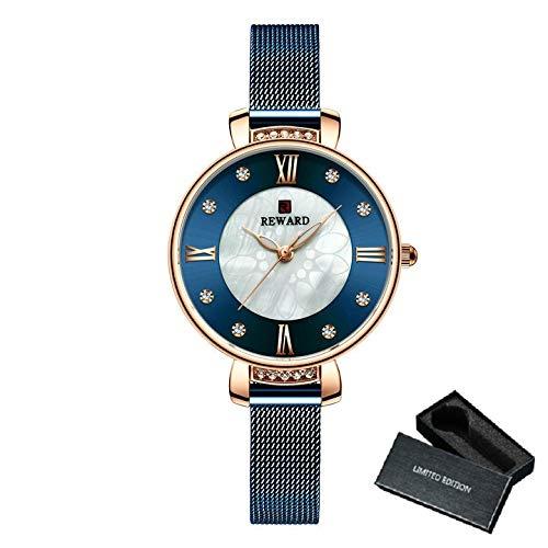 TXOZ Reloj de Cristal de Lujo Moda Vestido de Moda Damas Relojes de Cuarzo de Acero Inoxidable Correa de Malla Pulsera Reloj analógico Mujer (Color : Box Blue)