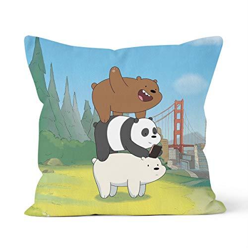 We Bare Bears,Ours Nus Home - Federa per cuscino decorativo, dimensioni 45 x 45 cm