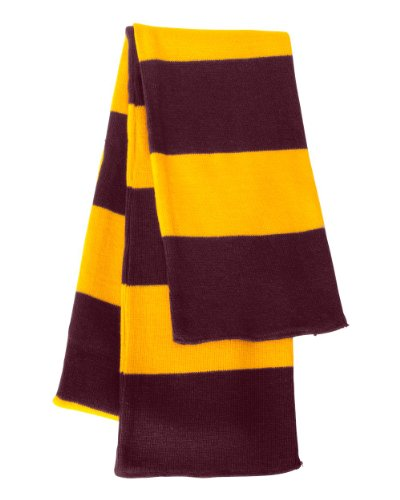 Sportsman - Rugby Striped Knit Scarf - SP02 - Maroon/Gold