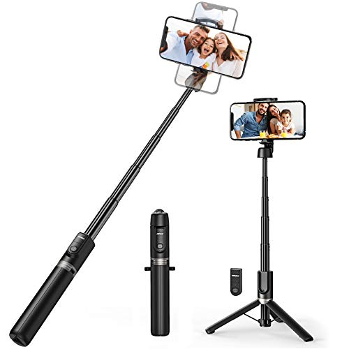 Mpow Selfie Stick Bluetooth, ALL in 1 Extendable Selfie Stick Tripod Monopod for iPhone 11/11 Pro/XS Max/XS/XR/X/8/7 Galaxy S10/S9 and more/ Travel Mini Size, Sturdy Legs, Wireless Remote -Black