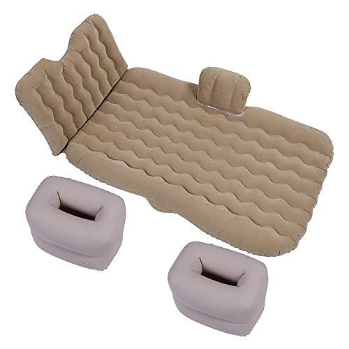 W-Lynn Car luchtmatras, autobed draagbaar, comfortabel kamperen gevlochten stof matras met 2 luchtkussens voor slaap, rust, reizen en kamperen (met luchtpomp) Beige