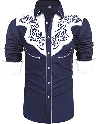 Daupanzees Men's Long Sleeve Embroidered Shirt Slim Fit Vintage Style Two Tone Casual Button Down Shirts(Navy Blue XXL)