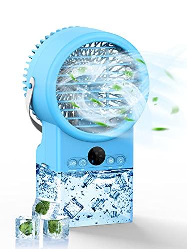 Climatizador portátil BraveKoi 4 en 1, mini aire acondicionado, humidificador, luz nocturna, enfriador de aire con temporizador, indicador LED, 7 luces de colores, 3 velocidades, para casa y oficina