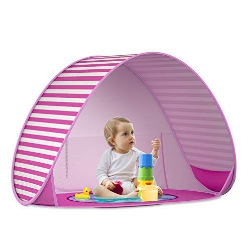SAEYON Tienda Playa Bebe, Pop up Tienda de Bebé con Mini Piscina para Infantil Carpa, Protección Solar Anti UV 50+ Refugio Playa del Bebé, Piscina Separable Beach Carpa para Niños, Rayas Rosas